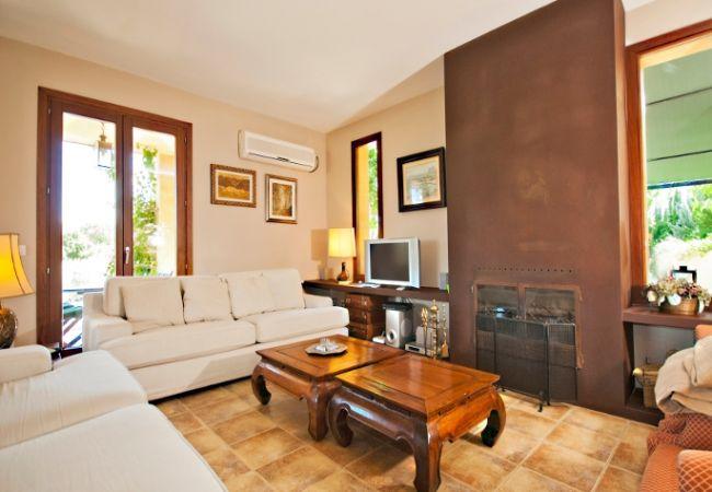 Salón amplio con chimenea