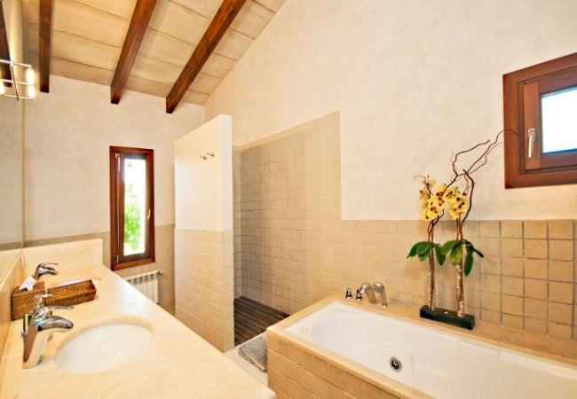 Lujoso baño con ducha y bañera