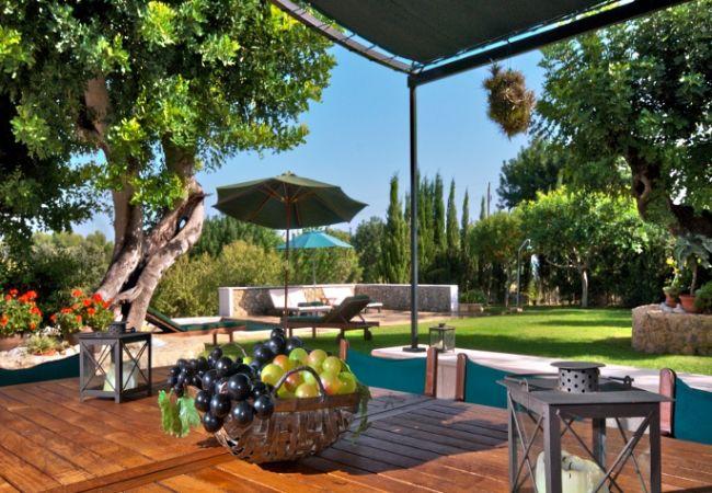 Jardín con mesa para comer