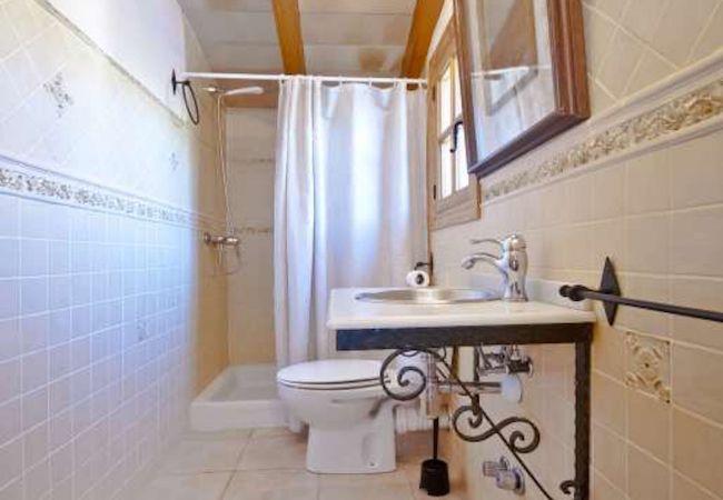 Baño con plato de ducha, lavabo y wc