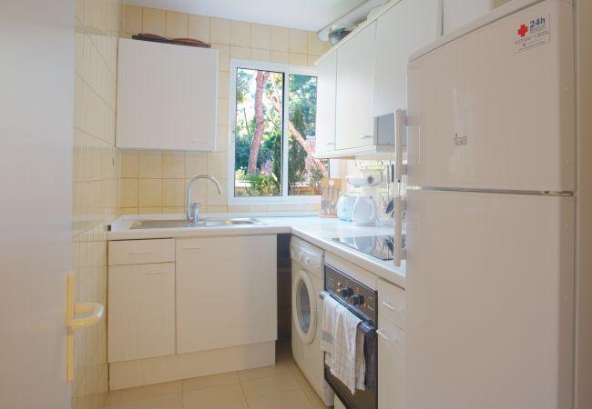 Ausgestattete Küche und Waschmaschine