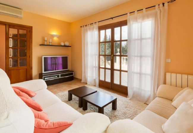 Helles Wohnzimmer mit Klimaanlage und Außenansichten