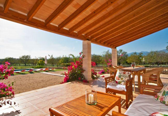 Terrasse mit Sofas und Tisch