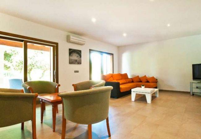 Wohnzimmer mit Sofas und TV