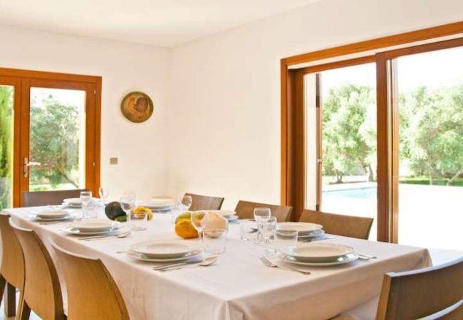 Acht-Person-Tisch und Blick auf den Garten