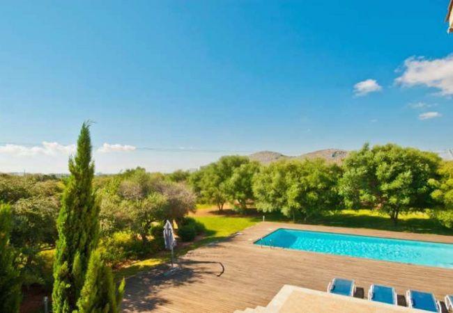 Blick auf den Garten und den Pool von der Terrasse