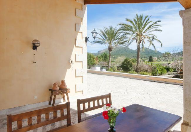Überdachte Terrasse mit Tisch und Aussicht