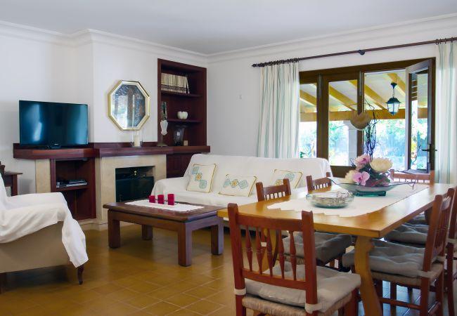 Wohnzimmer mit Esstisch, Sat-TV und Wifi