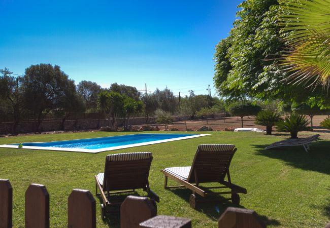 Garten mit Pool und Hängematten