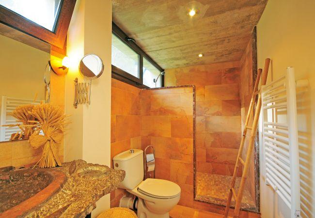 Badezimmer mit Dusche, WC und Heizung
