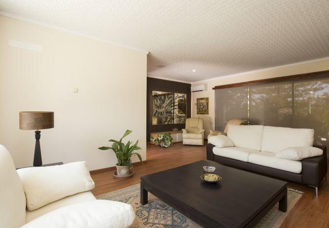 Wohnzimmer mit zwei Sofas und Couchtisch