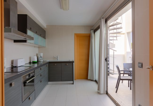 Penthouse kitchen with terrace and access to the upper terrace