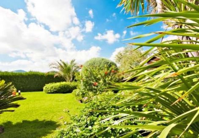Large garden in Villa Rosaleda with mountain views