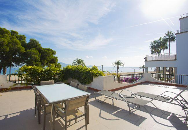 Terrace in villa on the beachfront