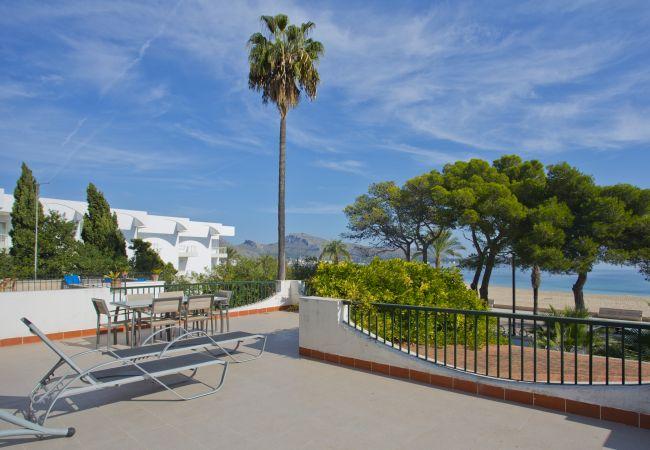 Terrace overlooking the beach of Puerto Pollensa