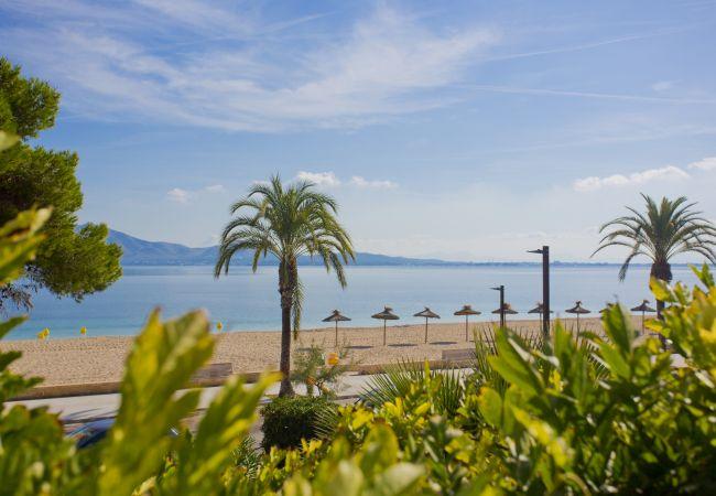 Puerto Pollensa beach from the terrace of the Villa