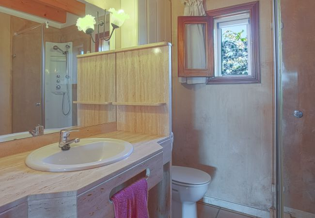 Bathroom with single sink, large mirror and shower