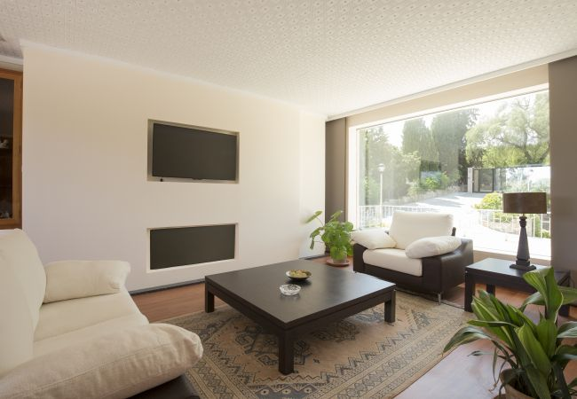 Living room with two sofas and coffee table with good lighting