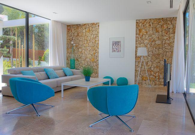 Precioso y moderno salón acristalado con televisor